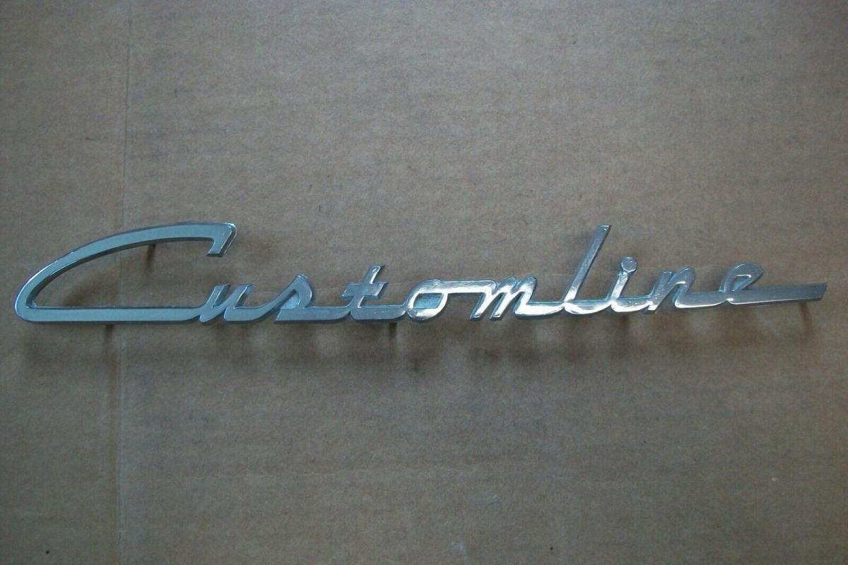 Customline 1955 1956 Ford Ranch Wagon Chome Script Emblem  Nameplate