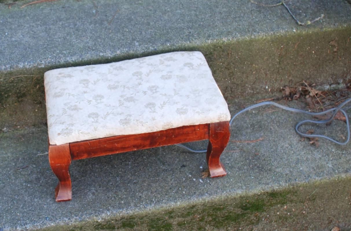 Vintage Upholstered Footstool with Electric  Heating Element.