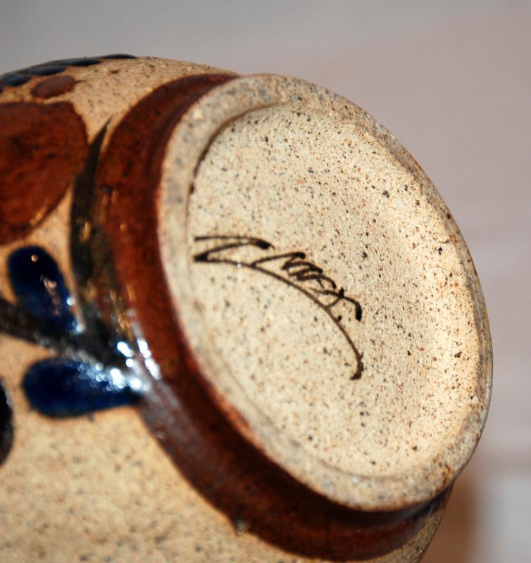 Large Mexican Folk Art Pitcher Tonala Enamel Bird Stoneware Pottery