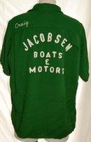 1950's  KING LOUIE RAYON Gabardine  Bowling Shirt  size L  GREEN