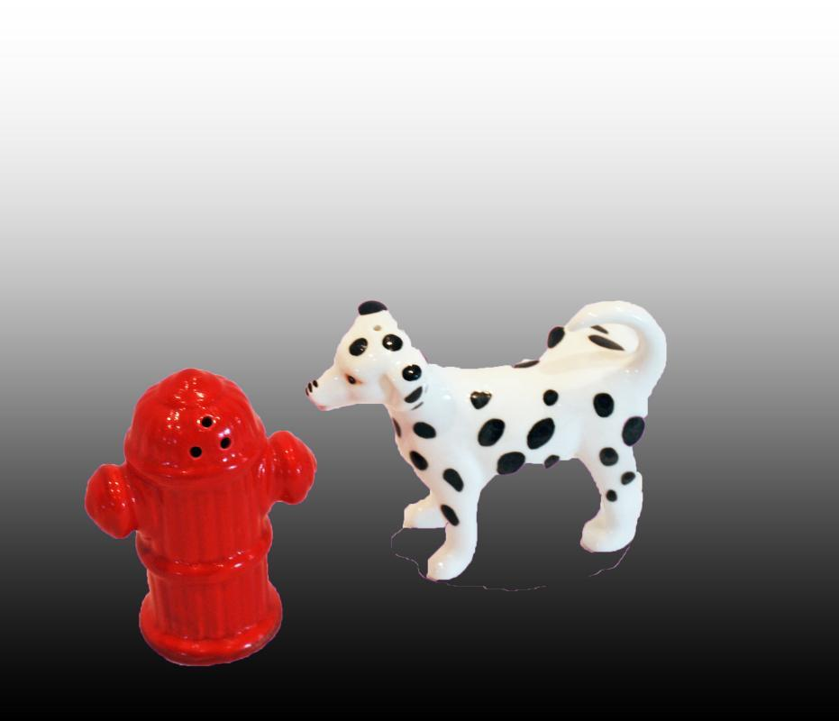 Dalmatian Dog and Fire Hydrant Salt Pepper Shakers