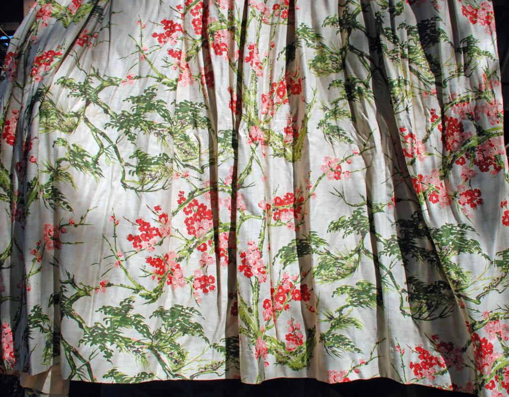 Pair of Vintage Barkcloth with Gold Threads  Pleated Drapery Panels 128