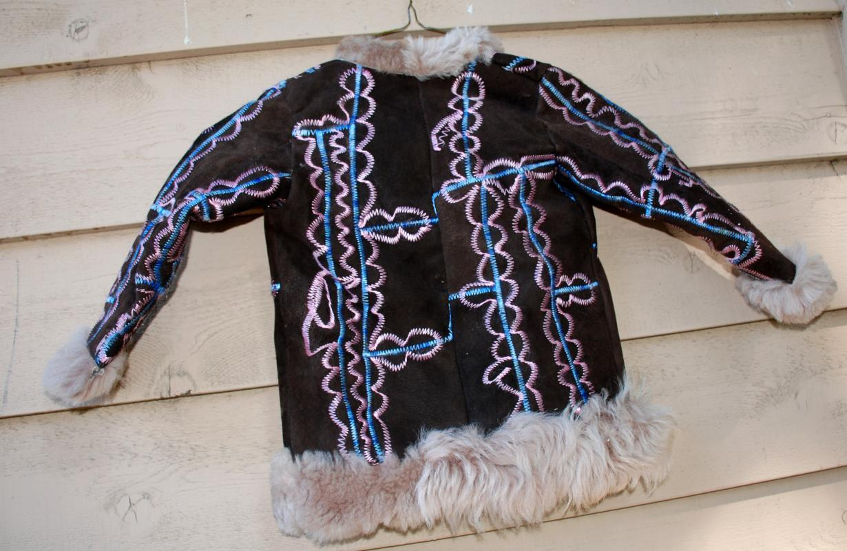 Ethnic  Embroidered Sheep Skin Shearling Coat Child's Size