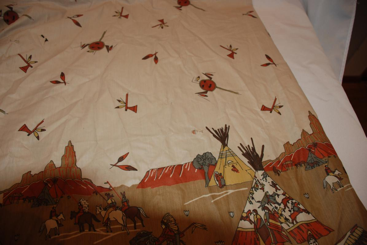Native American Plains Indian Print Decor Fabric 72 x 76