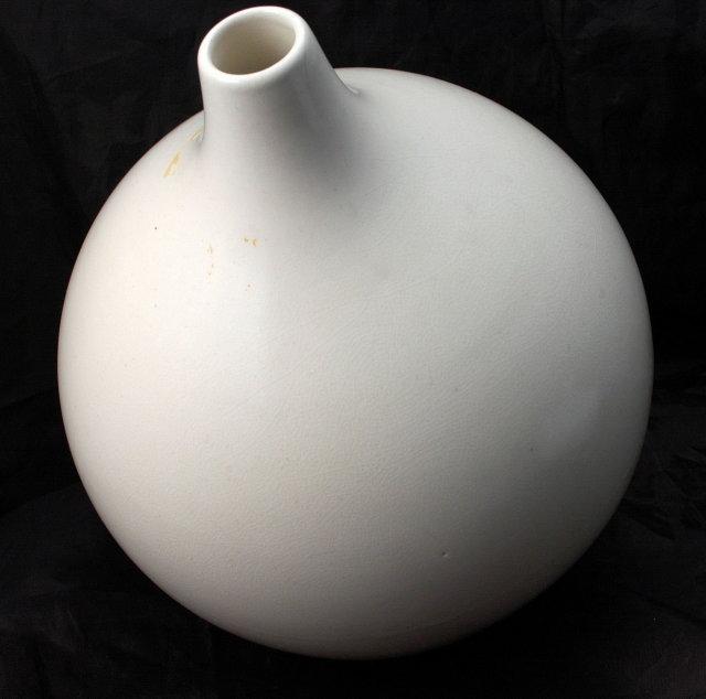Large Hand Thrown White Pottery Vase  Bulbous Shape Bottle, Vintage