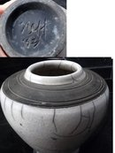 White  Crackle Glaze on Charcoal Raku Pottery Vase, Signed Dated  Hand Made Studio Art