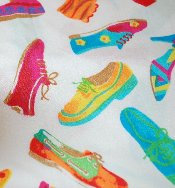 Vintage Colorful Tossed Shoes Novelty  Fabric, Yardage 1.75 yard x 44