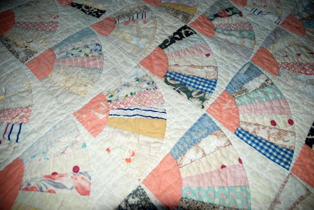 Antique Grandmother's  Fan Pattern Quilt.