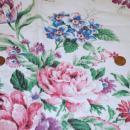 Vintage Barkcloth Drapery Curtain Panel  Roses and other Flowers of Pink / Purple Blue, Green 46