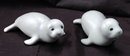 Pair of Hand Painted Grey Porcelain Seal Pups