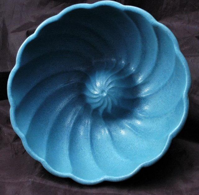 Heavy  Stoneware Pottery  Jello Mold  Blue