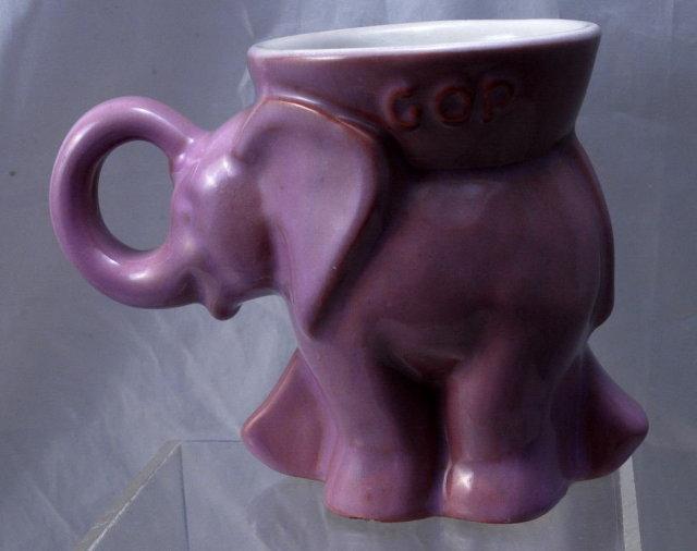 Frankoma Pottery Elephant  Coffee Mug 1983 GOP - Lavender