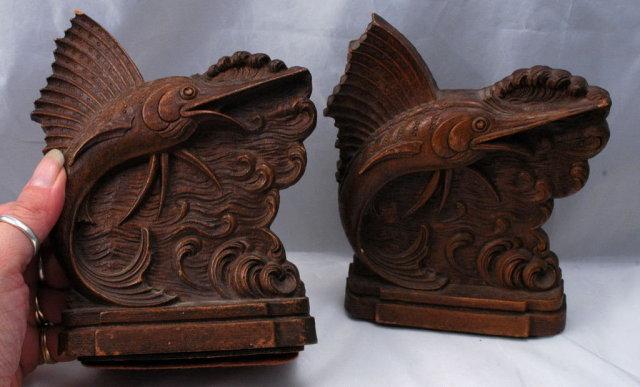 Sail Fish Bookends of Syroco Wood