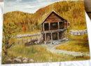 Cabin in Medford Oregon Oil Painting. Helene Hase Svensen 1968