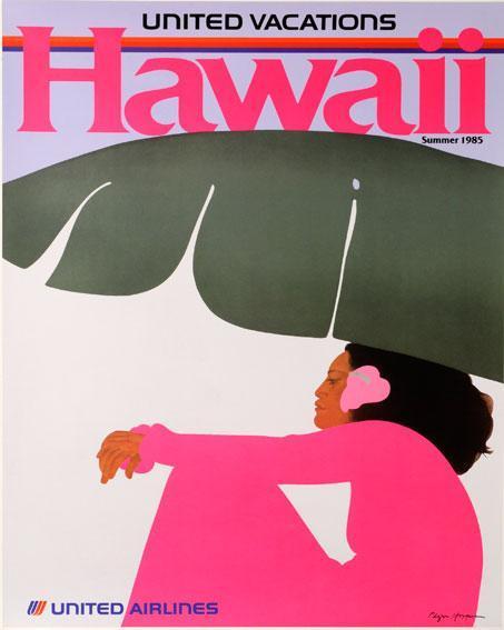Original Vintage United Airlines Hawaiian Travel Poster