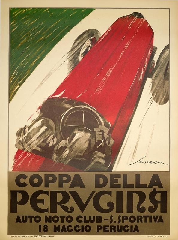 Original Poster Coppa Della Car Poster On Linen