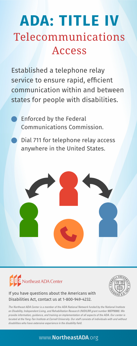 'ADA: Title IV - Telecommunications Access' Established a telephone relay service to ensure rapid, efficient communication within and between states for people with disabilities. - Enforced by the Federal Communications Commission. - Dial 711 for telephone relay access anywhere in the United States. If you have questions about the Americans with Disabilities Act, contact us at 1-800-949-4232