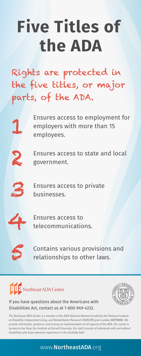 Infographic titled 'Five Titles of the ADA'