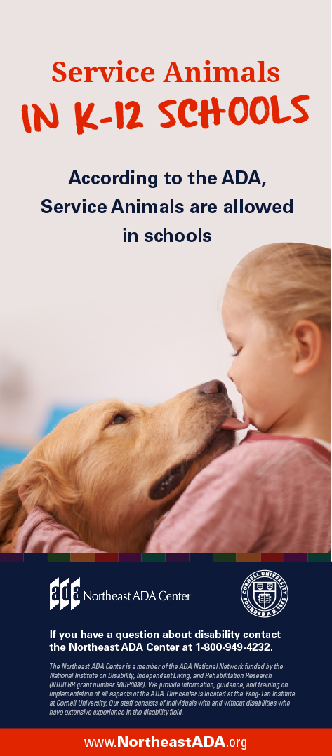Infographic titled 'Service Animals in K-12 Schools', featuring a child hugging her dog.  According to the ADA, Service Animals are allowed in schools.  If you have any questions about the Americans with Disabilities Act, contact us at 1-800-949-4232