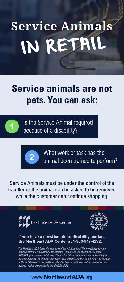 Infographic titled 'Service Animals in Retail' featuring several text boxes on a background of coat hangers in a clothes store.