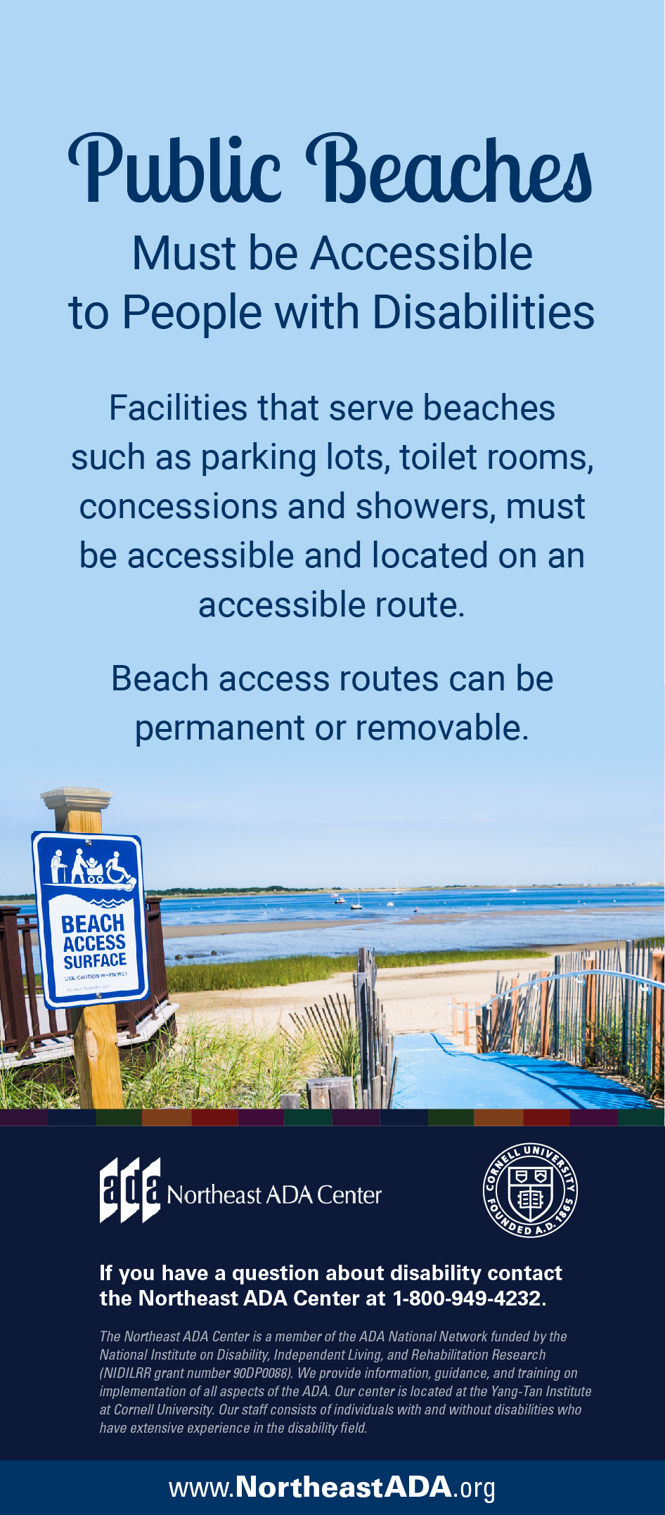 Infographic titled 'Public Beaches' featuring a photo of a path leading to a sandy beach.