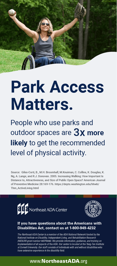 Infographic titled 'Park Access Matters' featuring a smiling woman using a wheelchair in a park, holding a baseball and wearing a catcher's mitten.  People who use parks and outdoor spaces are three times more likely to get the recommended level of physical activity.  If you have any questions about the Americans with Disabilities Act, contact us at 1-800-949-4232