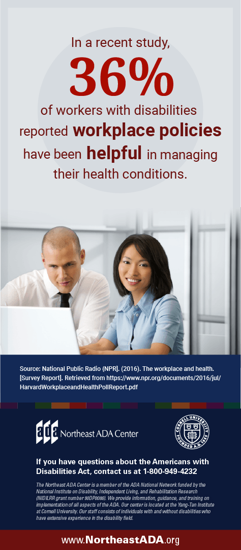 Infographic featuring two office workers working together on a laptop.  In a recent study, 36% of workers with disabilities reported workplace policies have been helpful in managing their health conditions.  If you have any questions about the Americans with Disabilities Act, contact us at 1-800-949-4232