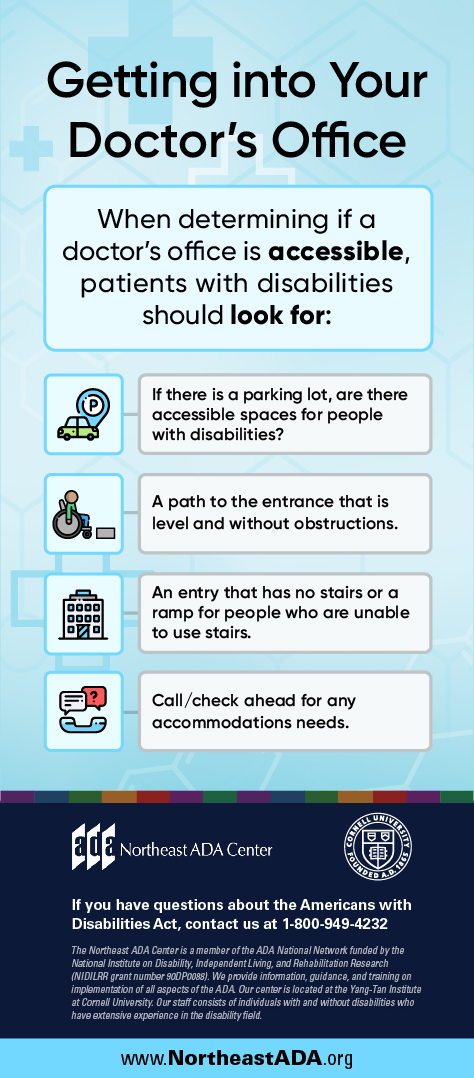 Infographic titled 'Getting into Your Doctor's Office' featuring a background with medical crosses and several text boxes. When determining if a doctor's office is accessible, patients with disabilities should look for: 1. If there's a parking lot, are there accessible spaces for people with disabilities? 2. A path to the entrance that is level and without obstructions. 3. An entry that has no stairs or a ramp for people who are unable to use stairs. 4. Call/check ahead for any accommodation needs.  If you have any questions about the Americans with Disabilities Act, contact us at 1-800-949-4232
