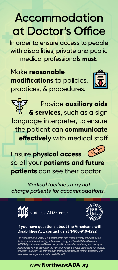 Infographic titled 'Accommodation at Doctor's Office' on a background featuring medical crosses.
