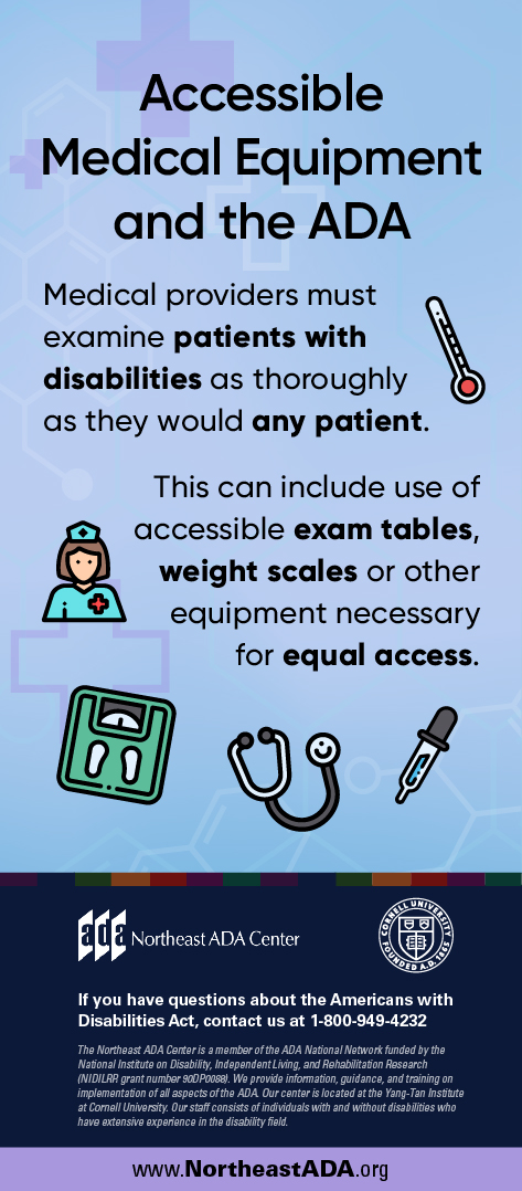 Infographic titled 'Accessible Medical Equipment and the ADA' with a background featuring medical crosses, a graphic of a nurse, a scale, a stethoscope, and a pipette.