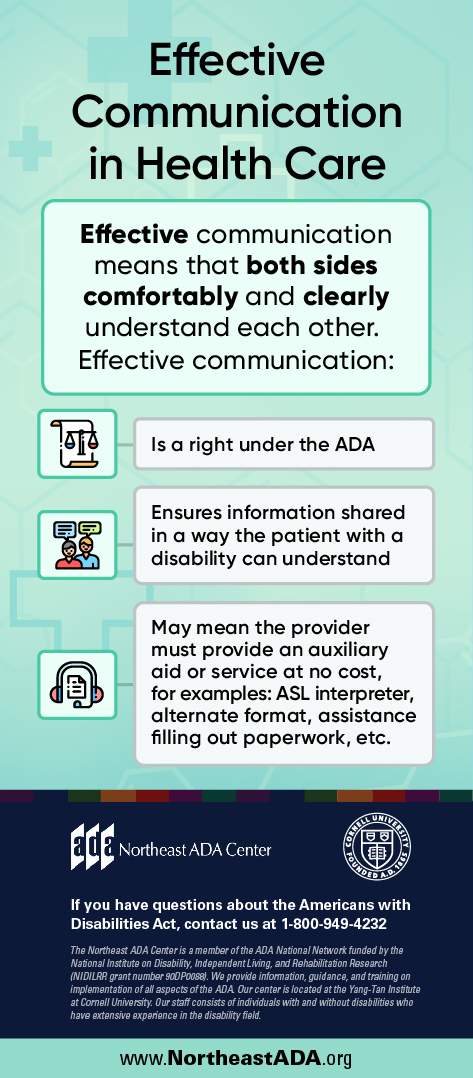 Infographic titled 'Effective Communication in Health Care' featuring several text boxes on a background with medical crosses.  Effective communication means that both sides comfortably and clearly understand each other. Effective communication:  Is a right under the ADA  Ensures information shared in a way the patient with a disability can understand  May mean the provider must provide an auxiliary aid or service at no cost, for examples: ASL interpreter, alternate format, assistance filling out paperwork, etc. If you have any questions about the Americans with Disabilities Act, contact us at 1-800-949-4232