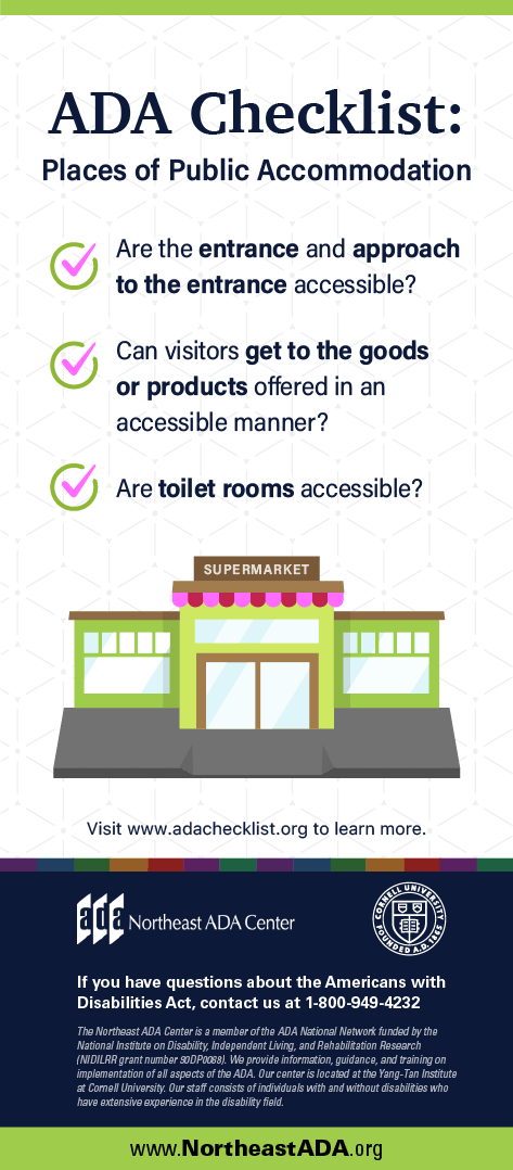 Infographic titled 'ADA Checklist: Places of Public Accommodation' featuring a graphic of a supermarket storefront and a bulleted list.
