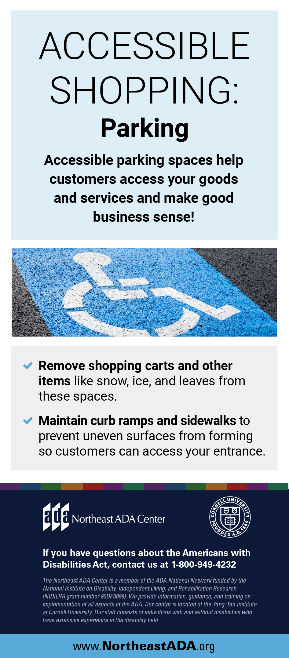 Infographic titled 'Accessible Shopping: Parking' featuring a picture of a parking space with an access symbol.