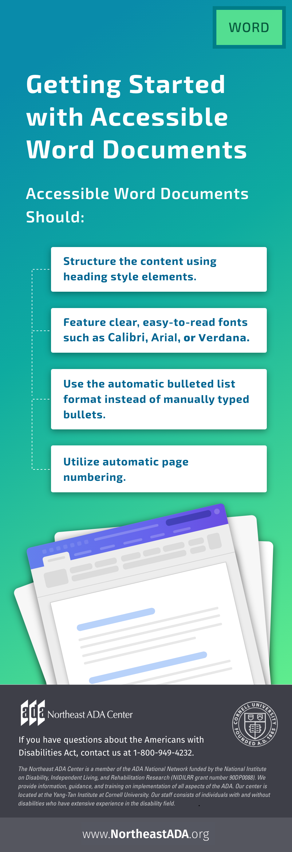 Infographic titled 'Getting Started with Accessible Word Documents' featuring an image of Microsoft Word and several text boxes with tips.