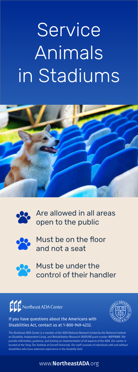 Infographic titled 'Service Animals in Stadiums' featuring a dog sitting on bleachers.  Are allowed in all areas open to the public.  Must be on the floor and not a seat.  Must be under the control of their handler.  If you have questions about the Americans with Disabilities Act, contact us at 1-800-949-4232