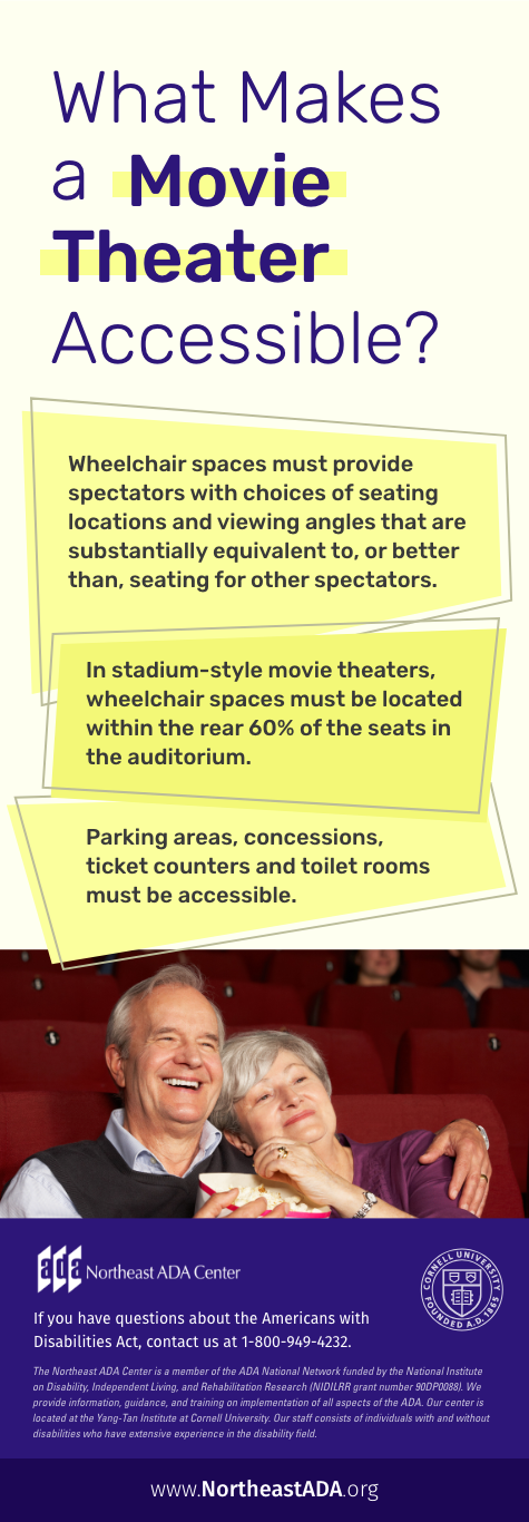 What Makes a Movie Theater Accessible?  Wheelchair spaces must provide spectators with choices of seating locations and viewing angles that are substantially equivalent to, or better than, seating for other spectators.  In stadium-style movie theaters, wheelchair spaces must be located within the rear 60% of the seats in the auditorium.  Parking areas, concessions, ticket counters and toilet rooms must be accessible.  If you have questions about the Americans with Disabilities Act, contact us at 1-800-949-4232