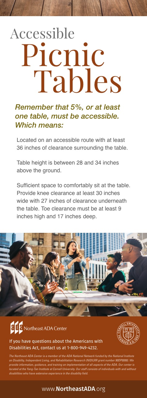 Infographic titled 'Accessible Picnic Tables' featuring a group of young people sitting at a table in a city.