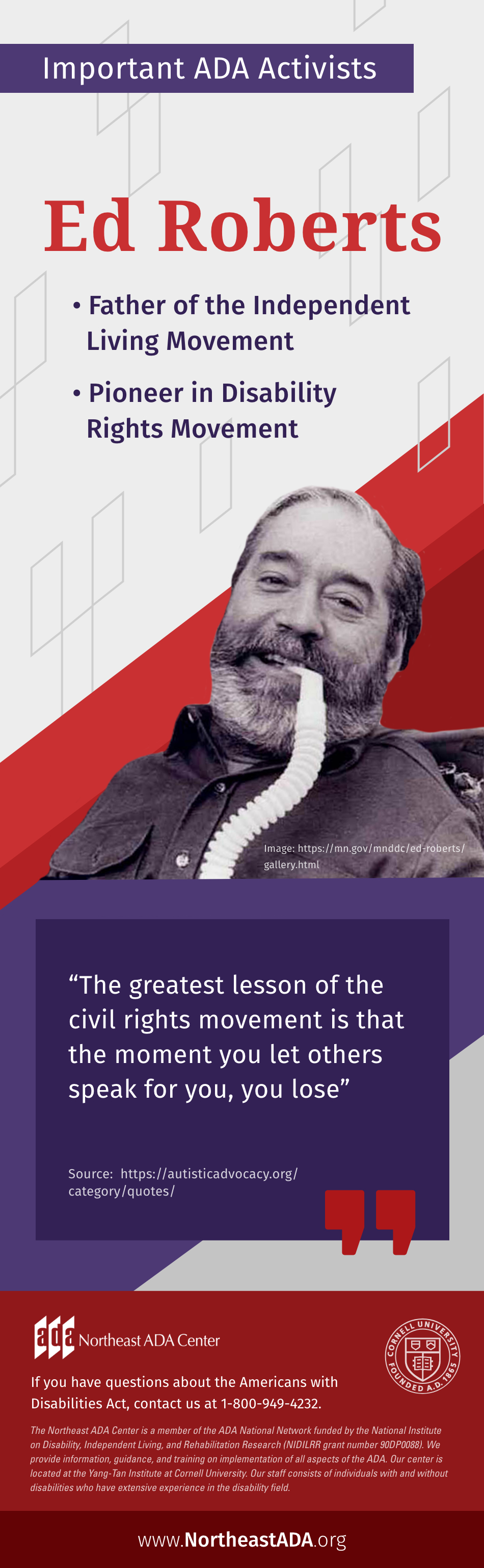 Infographic titled 'Important ADA Activists: Ed Roberts'.