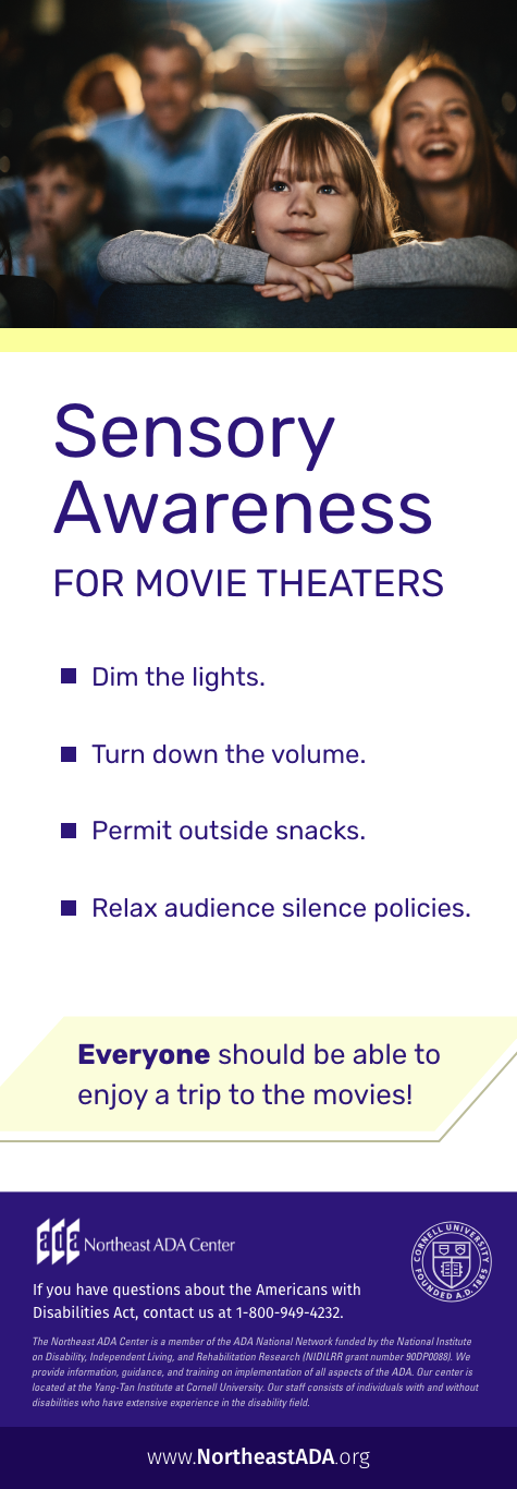 Infographic titled 'Sensory Awareness for Movie Theaters.'
