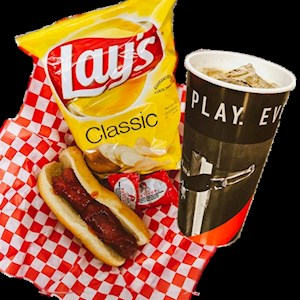 #4 - Jumbo Hot Dog, Bag of Chips, and a Fountain Drink