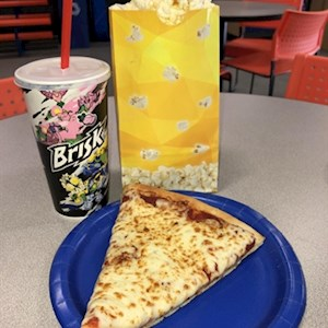 1 Pizza Slice/Regular Fountain and Small Popcorn Combo