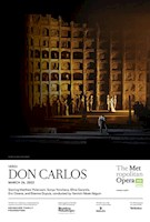 For the first time in company history, the Met presents the original five-act French version of Verdi's epic opera of doomed love among royalty, set against the backdrop of the Spanish Inquisition. Yannick Nézet-Séguin leads a world-beating cast of opera's leading lights, including tenor Matthew Polenzani in the title role, soprano Sonya Yoncheva as Élisabeth de Valois, and mezzo-soprano Elīna Garanča as Eboli. Bass Günther Groissböck and bass-baritone John Relyea are Philippe II and the Grand Inquisitor, and baritone Etienne Dupuis rounds out the all-star principal cast as Rodrigue. Verdi's masterpiece receives a monumental new staging by David McVicar that marks his 11th Met production, placing him among the most prolific and popular directors in recent Met memory.