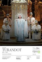 Two of today's most thrilling voices share the title role of the legendary cold-hearted princess: Christine Goerke, the Met's reigning dramatic soprano, and superstar Anna Netrebko, making her long-awaited Met role debut after providing a hair-raising preview in 2019's New Year's Eve Gala. Tenors Yusif Eyvazov and Yonghoon Lee trade off as the bold prince determined to win Turandot's love, alongside sopranos Gabriella Reyes, Michelle Bradley, and Ermonela Jaho as the devoted servant Liù and bass-baritone James Morris and basses Alexander Tsymbalyuk and Ferruccio Furlanetto as the blind king Timur. Marco Armiliato conducts Puccini's stirring score.