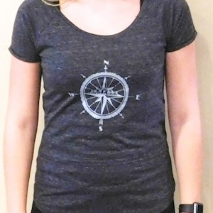 .Compass Scoop Ladies T Shirt Charcoal