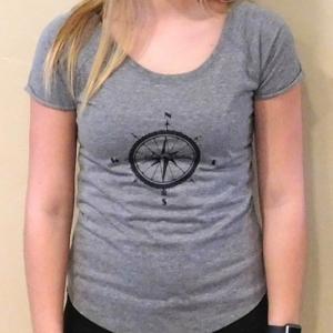 .Compass Scoop Ladies T Shirt Grey