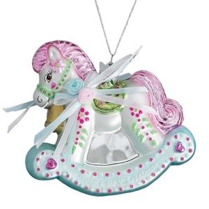 "Baby'S 1St Xmas Rocking Horse Ornament 3.75"""