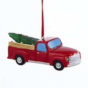 "Battery Op Resin Led Pickup Truck Ornament 4"""