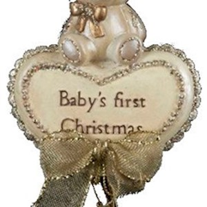 "Babys 1St Xmas Bear W/Heart Ornament 6"""