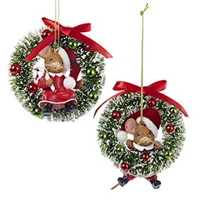 "2.75-4"" Girl / Boy Mice On Wreath Ornament"