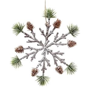 "Pinecone Snowflake Ornament 8"""